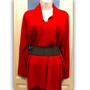 Pre-Owned Avenue Red Ribbed Sweater - size 14/16